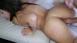 Busty latina is showered with sperm for voyeurs bene