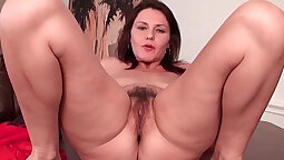Busty MILF in hairy pussy fisted and feet worshipped