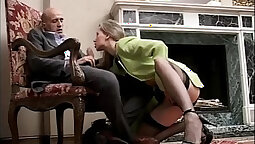 Amateur in stockings performs a fast cock high
