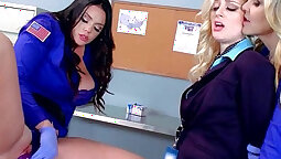 Brianna-teen lesbian action big dildo session in the kitchen