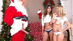 Teen girl banging step parents In santa video