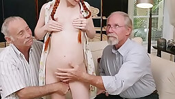 Teen with red head rubs pussy while exposing assholes