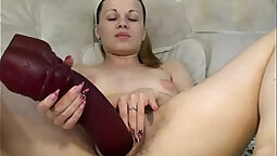Awesome Titty Bounce and masturbating with monster dildo on webcam