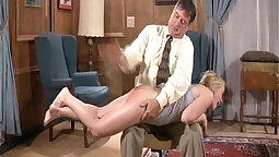 blonde gets her tight ass spanked and then tits fucked
