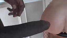 slim sluts teases you during a interracial anal sex