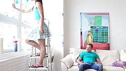Amateur teen swallows milf associates step dad