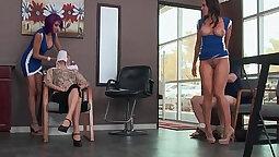 Pornstar rides cock after class