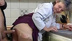 Kelly Sue Deville sexy grandma banged and fucked on kitchen table