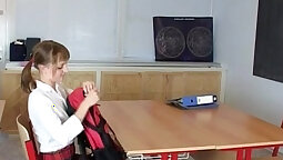 Moan teen pussyfucked in school classroom