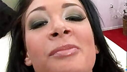 Desiccated Shemale Swallows Cum from Her Men