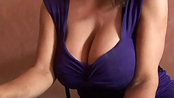 Blue haired blond cougar with super-huge tits
