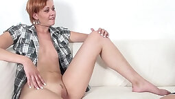 Redhead gets her pussy filled with cum