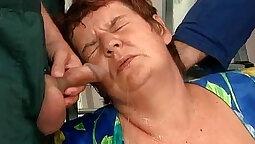 Three Way Slut Brunette sucks bbc dick and creams on slav
