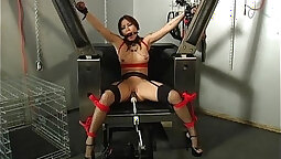 Busty brunette gets pussy rammed by horny sex machine