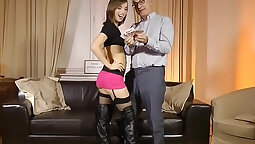Classy eurobabe striping and cock riding
