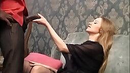 Wild blonde with braces takes big black cock