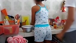 brother fucked sister in the kitchen a little her. AVF