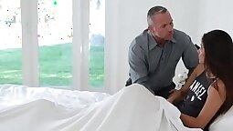 Babe with dark hair fuck stepdaughter