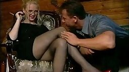 German teen toyposts her nylons while talking to a guy the way