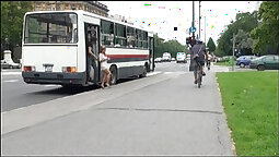 Brunette gets fucked in public bus on webcam