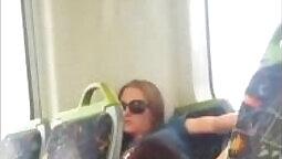 CD Megan removes her lingerie in the bus