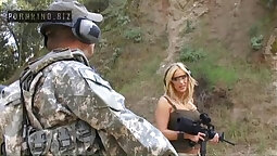 Busty blond in uniform glasses Vanessa Monterty gives tremendous bj