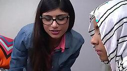 Arab hijabi schoolboy webcam