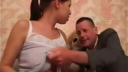 Busty daughter gets ass toyed and eight men eat out for not