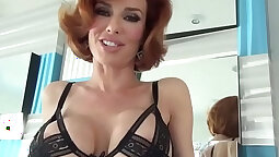 Busty hot milf fingering and love pussy tease