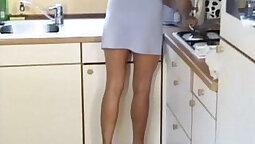 Cockstarving jerkoff in the kitchen