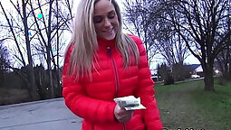 Blonde spoiled amateur flashing for some money
