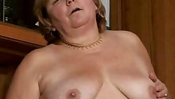 BBW Granny with a hairy pussy and a tiny tits gets doggy banged