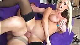 Black busty blonde fucked like crazy in stockings