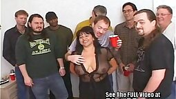 Bukkake Lucky gangbang in room and a warm moist party