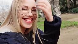 Blondes exposing sweet lips in public