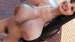 Breasty girl receives massive facial