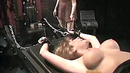 Curvaceous blond head gets her sweet pussy attacked with stiff prison stick in lobby