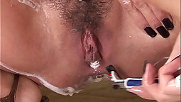 Beautys shaved and hairy pussy needs to be banged