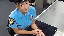 Busty police girl Suspect was caught red handed by pawn guy