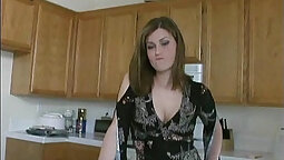 Busty big tit brunette babe playing with her clits