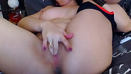 Brunette Chick With Big Tits Fingering On Cam