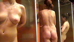 Candid voyeur hot pink in the shower